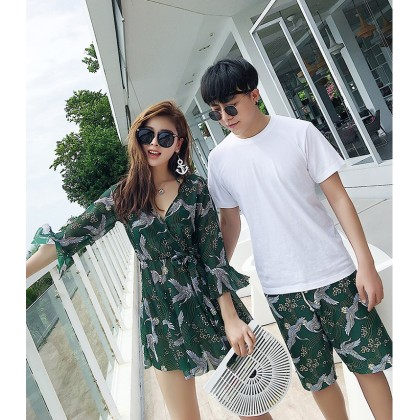 Forest Green Couple Swimsuit