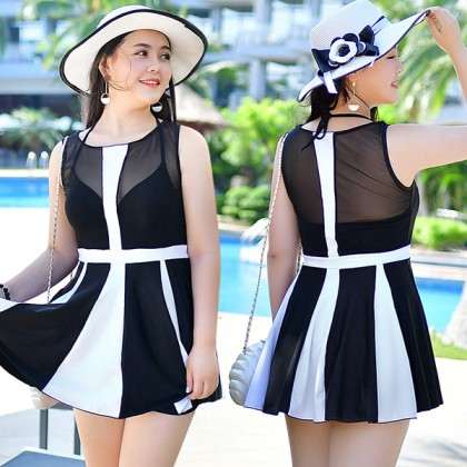 Black White Match Big Size Swimsuit Dress (5XL)