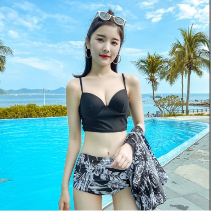 3IN1 Gladys Summer High Waist Bikini With Outer