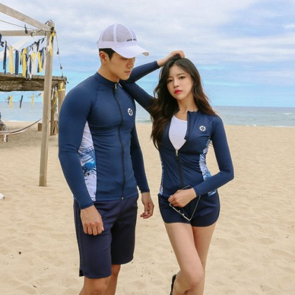 Classic Blue Couple Rashguard Design