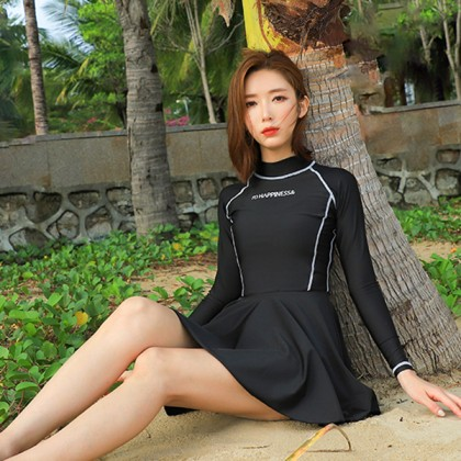 Plain Black Swim Skirt Rashguard