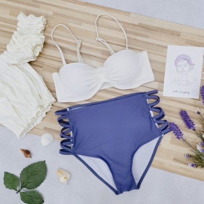 White And Purple Bikini Set